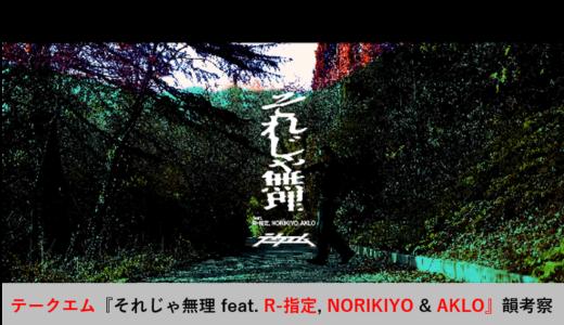 テークエム『それじゃ無理 feat. R-指定, NORIKIYO & AKLO』韻考察